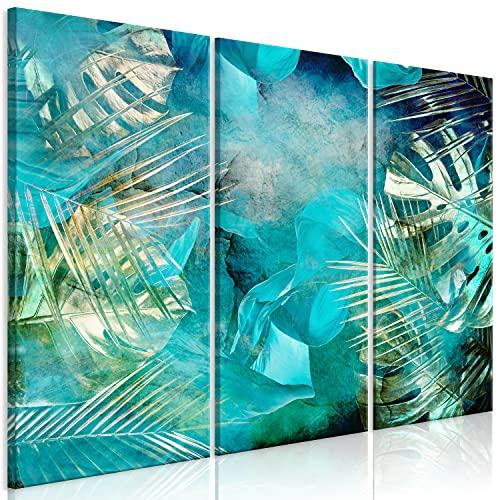 murando Cuadro en Lienzo Tropical Hoja 90x60 cm Impresión de 3 Piezas Material Tejido no Tejido Impresión Artística Imagen Gráfica Decoracion de Pared - Naturaleza Azul Oro botánica b-C-0838-b-e