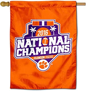 College Flags and Banners Co. Clemson National Champions 2016 Double Sided House Flag