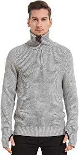 Sponsored Ad - Men's Turtleneck Quarter Zip Pullover Sweaters Fashion Rib Knitted with Thumb Holes on Cuff