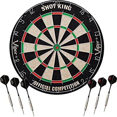Viper by GLD Products Viper Shot King Sisal/Bristle Steel Tip Dartboard with Staple-Free Bullseye and 6 Darts