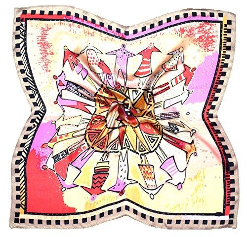 Bees Knees Fashion Foulard Quadrato In Seta Fine Stampata Nera Ecru Cachemire