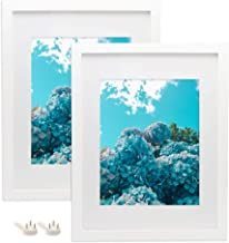 Afuly 11x14 White Picture Frames Set Wood Mat to fit 8x10 Photo for Gallery Wall Mounting Material Included 2 Pack - Made of Solid Wood & 2mm Thick Plexiglass