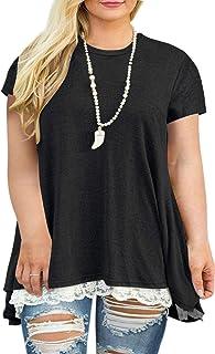 Womens Plus Size XL-4XL Lace Short Sleeve A-Line Tunics...