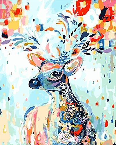 Fuumuui DIY Malen Nach Zahlen, DIY Digitale Leinwand Ölgemälde Geschenk für Kinder, Studenten, Erwachsene Anfänger-Blumenhirsch 16 * 20 Zoll