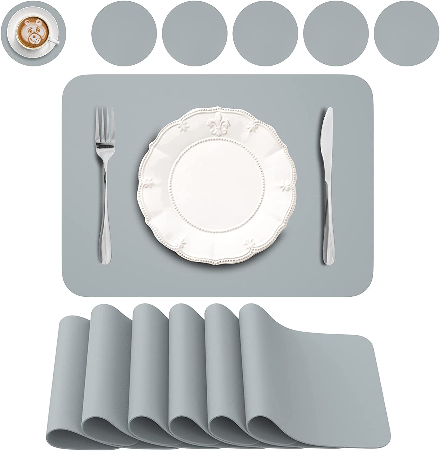 BANNIO Placemats online shopping Set Denver Mall for Dining Table W Coasters 6