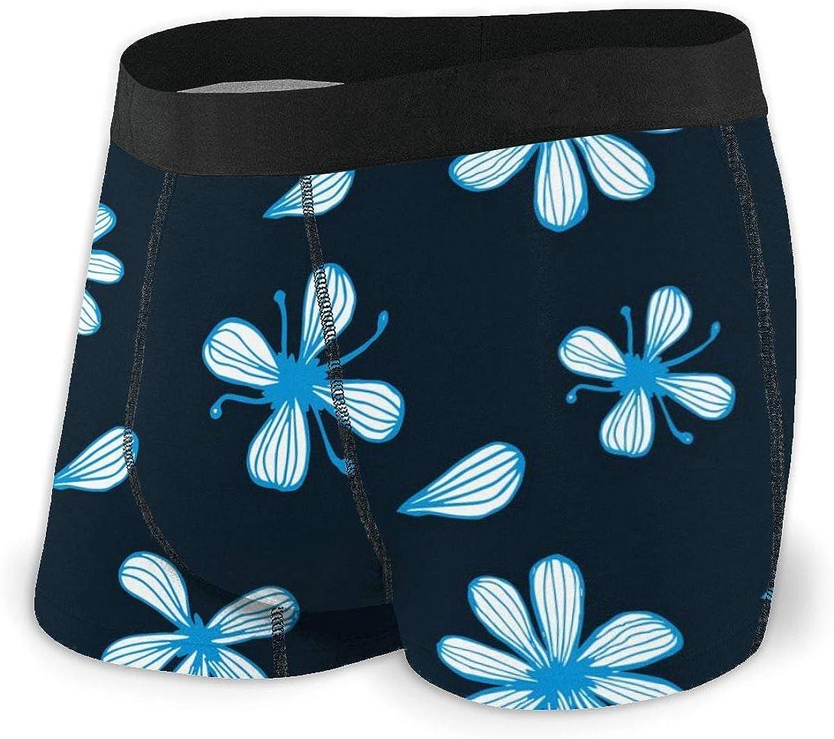 Mens Boxer Briefs Blue Floral Flowers Black Breathable Underwear