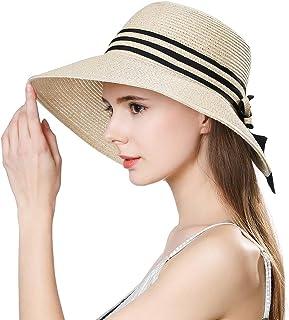 Jeff & Aimy Womens UPF 50 + Summer Straw Beach Sun Hat Wide Brim Fashion Fedora Packable & Adjustable