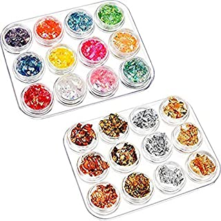 24 Pack Nail Paillette Chip Foil Nail Glitter and Ice Mylar Shell Foil Slice Nail Art Design Decoration