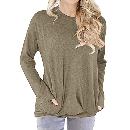 lymanchi Women Round Neck Sweatshirt Shirt Pocket Long Sleeve Loose Baggy  Pullover Tunic Top 7af87b894