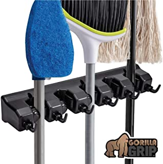 Gorilla Grip Mop and Broom Holder, 5 Auto Adjust Slots, 6 Hooks, Holds Up to 50 Lbs, Easy Install Wall Mount, Store Cleaning and Gardening Tools, Organize Kitchen, Garage, Closet, Storage Rooms, Black