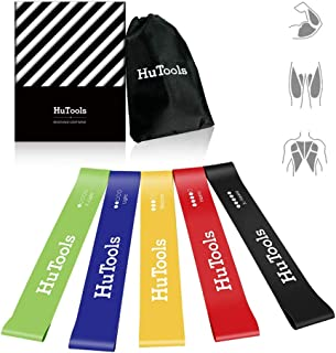 HuTools Exercise Loop Bands Exercise Bands for Legs and Butt Resistance Bands Arms Shoulders for Physical Therapy Yoga Crossfit Strength Training Set of 5 with Carry Bag