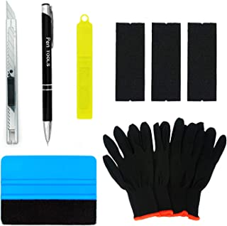 CARTINTS Auto Glass Window Tint Film Installation Tools Kit with Air Release Tool Pen, Felt Squeegee, Vinyl Knife, Vinyl Wrap Gloves