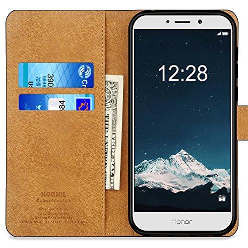 HOOMIL Handyhülle für Huawei Honor 6X Hülle, Premium Leder Flip Schutzhülle für Huawei Honor 6X Tasche, Schwarz - 2