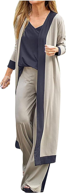 Women 3 Pieces Set Soft Vest T-Shirt Long Sleeve Fall Open Front Cardigan Coat Top Long Hight Waist Trouser Pant Casual Suit