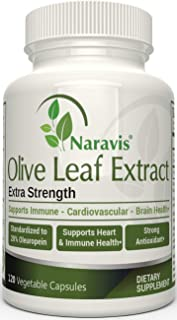 Naravis Olive Leaf Extract - 750mg - 120 Veggie Capsules - 20% Oleuropein - Non-GMO - Immune Support - Cardiovascular Heal...