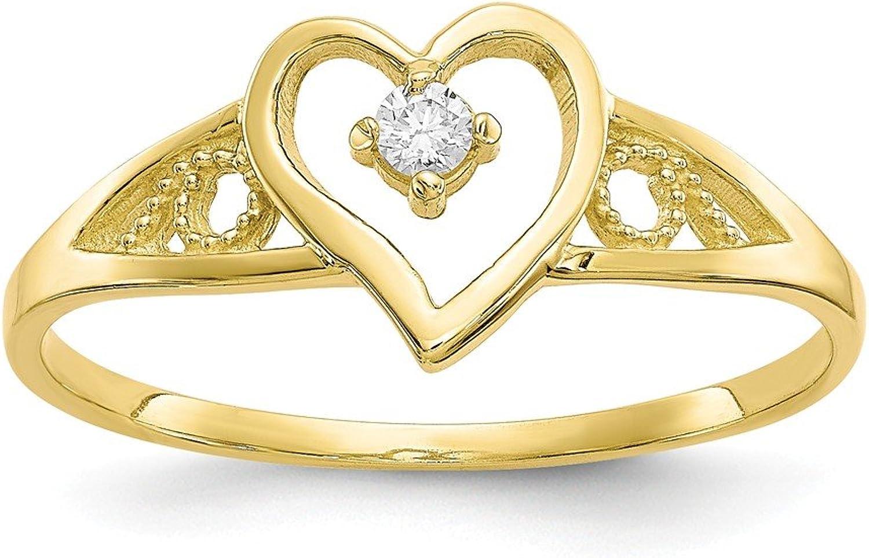Beautiful Yellow gold 10K Yellowgold 10k Heart CZ Ring