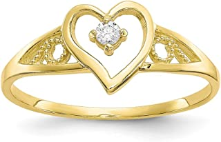 10k Yellow Gold Heart Cubic Zirconia Cz Band Ring Size 6.00 S/love Fine Jewelry Gifts For Women For Her