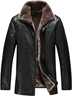 TEERFU Men's Winter Warm Sheep Faux Leather Coat Jacket Lamb Wool Lined