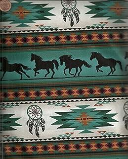 Tucson turquoise southwestern horse dreamcatcher stripe fabric
