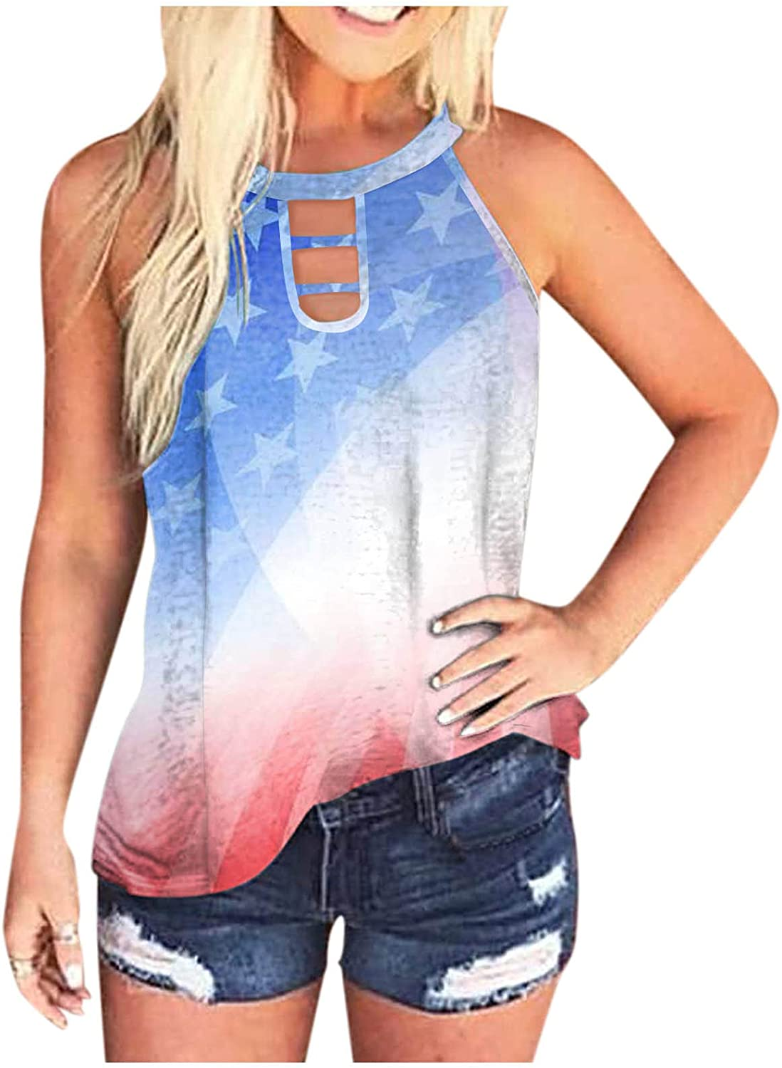 Tank Tops for Women Fashion,Women Tie Dye Tank Tops Loose Fit Sleeveless Halter Neck Casual Summer Tops Cut Out Workout Tee Shirts