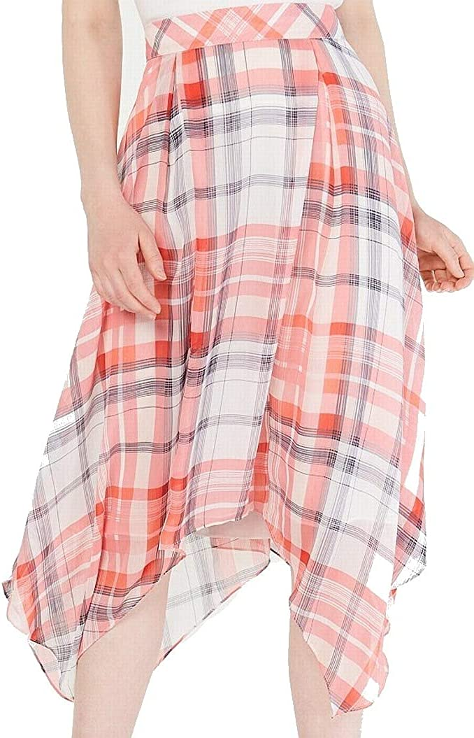 Tommy Hilfiger Womens Pink Plaid Below The Knee Circle Skirt Size 6