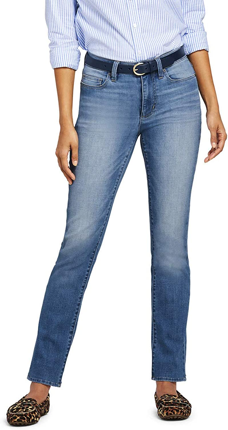 Lands' End Women's Tall Mid Rise Straight Leg Jeans