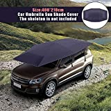 Zqasales 4X2.1M Rooftop Tent, Automatic Semi-auto Manual Folded Car Umbrella, Portable Auto Protection Car Tent Sunshade, Movable Carport Canopy for Outdoor Camping Tent (Do Not Include Skeleton)