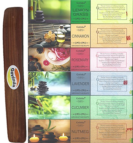 Set of 6 - Nutmeg, Cucumber, Lavender, Rosemary, Cinnamon, and Lemongrass with Govinda Incense Holder - by Goloka Aromatherapy Series and Govinda Burner