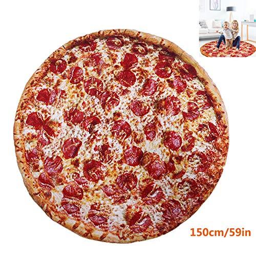 Burrito Decke, 150CM Runde Neuheits Pizza Kuscheldecke, Mikrofaser Flanell Food Creation Tagesdecke, Zweiseitige Burrito Blanket, Sofadecke, Reisedecke (59 inch)