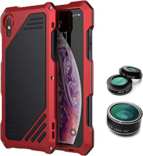 iPhone Xs Max Case,iPhone Xs Max Full Body Metal Case with Fisheye Lens,0.63X Wide Angle Lens and 15X Micro Lens, Shockproof Case for iPhone Xs Max 6.5