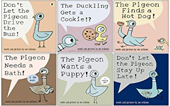 Don't Let the Pigeon Series 6 Books Collection Set by Mo Willems (Pigeon Drive the Bus, Stay Up Late, Ducking Gets a Cooki...