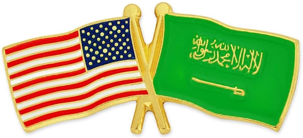 PinMart USA and Saudi Arabia Friendship Max 40% Ranking TOP8 OFF Enamel Lape Flag Crossed