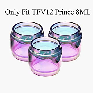 CENGLORY 3PCS Replacement Bulb Glass Tube 8ml Capacity for TFV12 Prince (Rainbow)