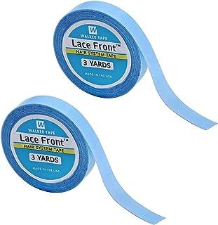 2 piezas de encaje frente peluca cinta de apoyo, salón de extensión de cabello cinta azul de doble cara rollo de cinta adh...