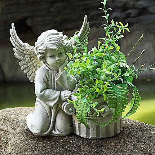 erddcbb Cherub Statue Flower Pot Angel Vintage Child Plant Flower Pot Garden Memorial Potted Decor,RomanColumnB