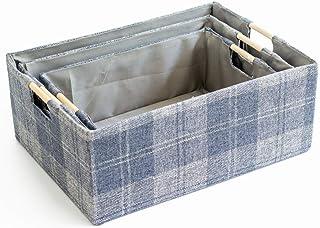 MADHEHAO Boîte de Rangement Pliable 3 pièces, Panier de Rangement en Tissu avec poignées en Bois pour étagères, vêtements,...