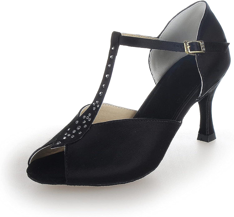 JIAJIA Y2057 Women's Satin 新作 大人気 Sandals Flared 卸直営 Perfo Heel Latin Salsa