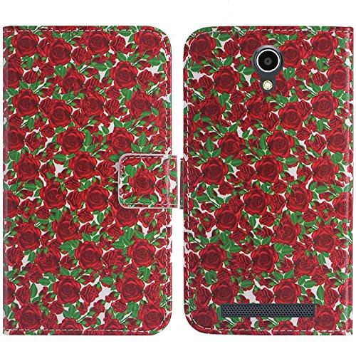 TienJueShi Rose Blume Flip Book-Style Brief Leder Tasche Schutz Hulle Handy Case Abdeckung Fall Wallet Cover Etui Skin Fur THL T6 T6S T6C T6 Pro 5 inch