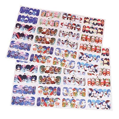 Lurrose Weihnachten Nail Art Sticker 12 Blatt Wassertransfer Nail Decals Weihnachten Winter Schneemann Schneeflocke Maniküre Tipp Sticker für Damen Damen Mädchen