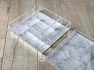 Acrylic Sectional Dish - LUXE MARBLE LUCITE TRAY - Perfect Dish for Candy - Nuts Platter - Condiments Dish with Cover - Serving Dish with Cover - Acrylic Tray