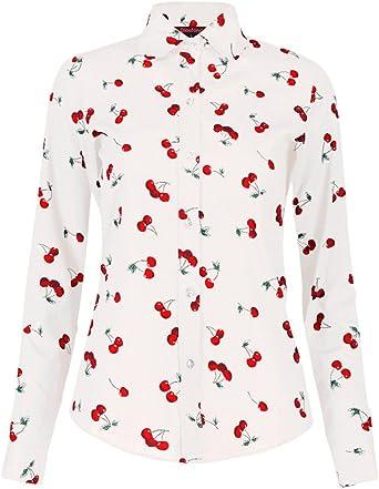Dioufond® Camisas Mujer Manga Larga Estampadas de Cerezas ...