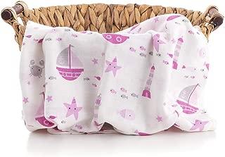 Caline Baby Müslin Bezi Örtü Gemi Desen -Pembe - 120x120 cm [4 Adet Ağız Mendili HEDİYE!!]
