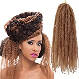 3Packs Afro Kinky Marley Braids Hair Extensions 18' Synthetic Afro Kinky Twist Crochet Braiding Hair Mixed Color Bulk Twist Crochet Braids 60g/pc Synthetic Hair For Braiding African Twist (#27)