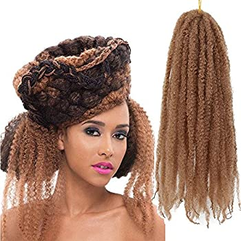 3Packs Afro Kinky Marley Braids Hair Extensions 18  Synthetic Afro Kinky Twist Crochet Braiding Hair Mixed Color Bulk Twist Crochet Braids 60g/pc Synthetic Hair For Braiding African Twist  #27