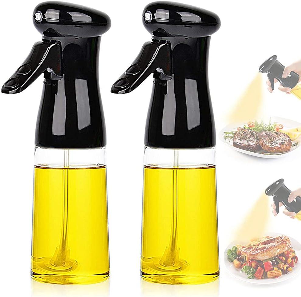 Olive Oil Sprayer for Cooking - 2 Pack 210ml Oil Dispenser Bottle Spray Mister - Portable Refillable Food Grade Oil Vinegar Spritzer Sprayer Bottles for Kitchen, Air Fryer, Salad, Baking, BBQ