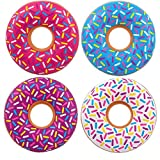 Kicko Inflatable Donut Kids' Pool Float - 4 Pack, Multi-Colored 18 Inch Frosted Looking Doughnut Blow-up Swim Tube Toy for Swimming, Floating, Summer Beach Games, Party Decoration
