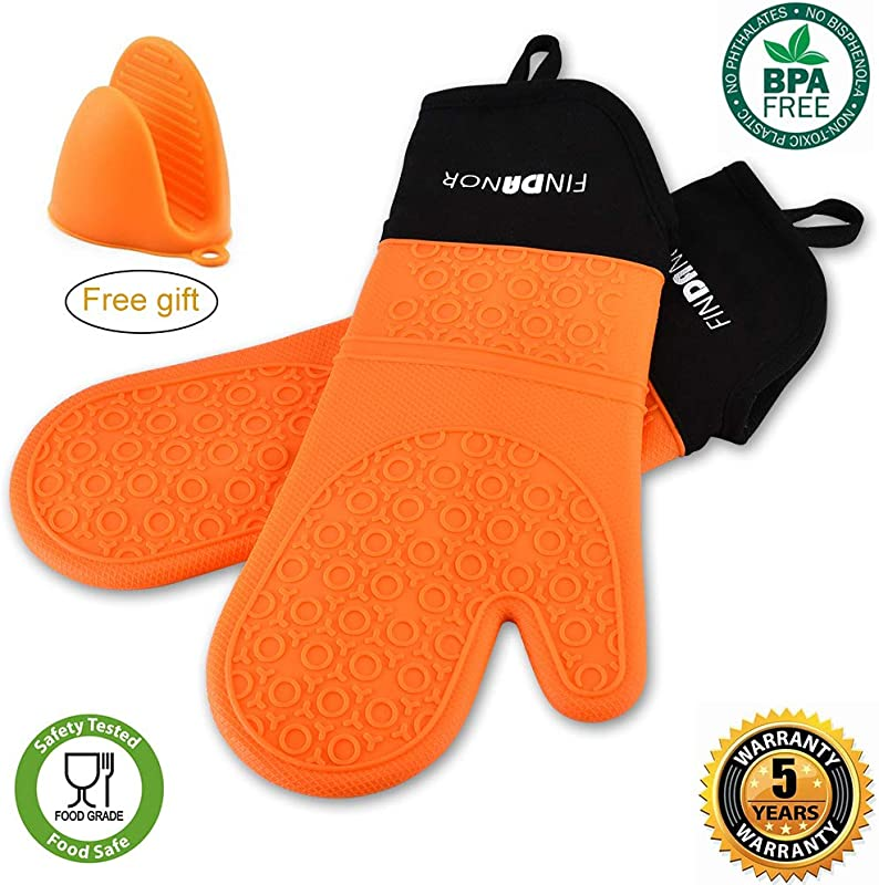 FINDANOR Silicone Oven Mitts With Soft Inner Lining 1 Pair Of Extra Long Professional Chef Oven Mitts Heat Resistant Pot Holder Baking Gloves Food Safe BPA Free And FDA Approved