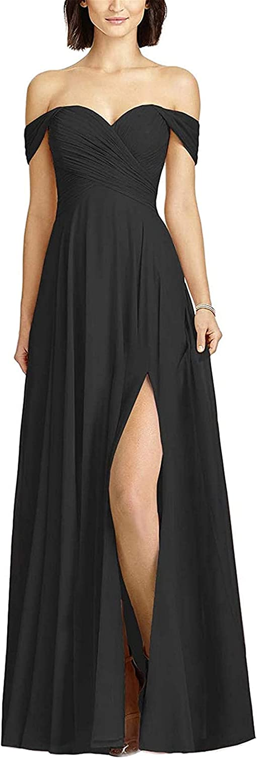 Boqia Off Shoulder Bridesmaid Dress Chiffon Long Pleated Wedding Formal Evening Gowns with Slit