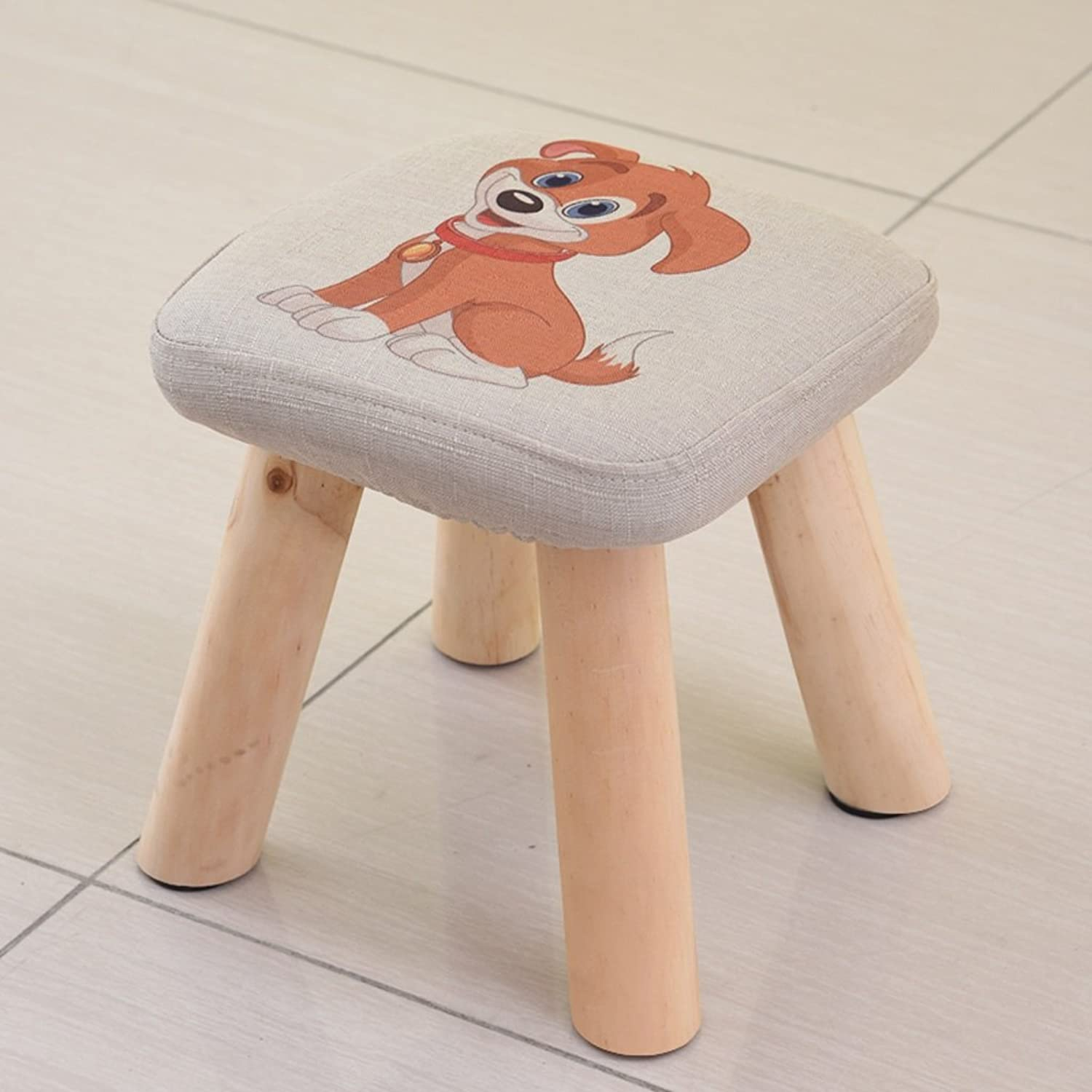 Wooden Square Stool Linen Cartoon Animal Tea Table Chair Household shoes Changing Stool (color   Dog)