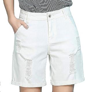 038932bb05 Pandapang-CA Women's Plus Size High Waist Broken Hole Casual Washed Denim  Shorts